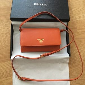 PRADA Saffiano Leather Wallet w/Strap 🍊Brand New